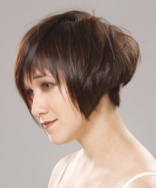 Short Straight Casual  Pixie  Hairstyle with Asymmetrical Bangs  - Dark Brunette and Orange Two-Tone Hair Color - Side on View
