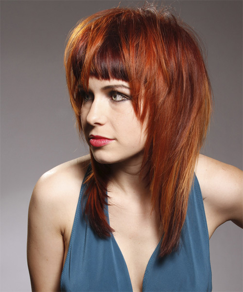 Long Straight Alternative    Hairstyle with Blunt Cut Bangs  - Dark Red and Orange Two-Tone Hair Color - Side on View