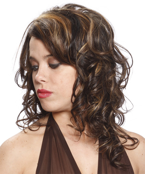 Long Curly Formal   Hairstyle   - Dark Brunette - Side on View