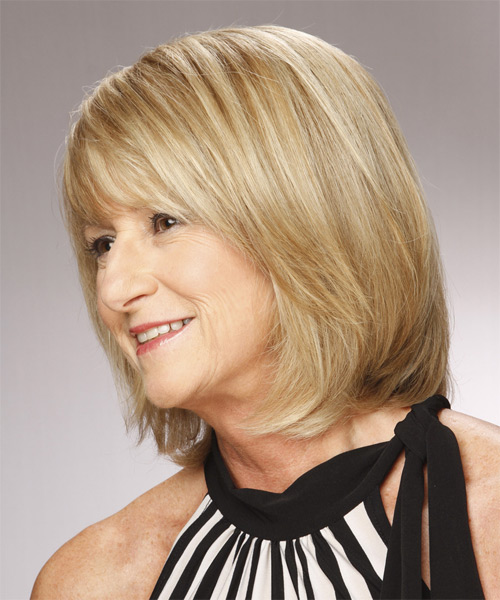 Medium Straight Formal Bob  Hairstyle with Side Swept Bangs  - Light Blonde (Champagne) - Side on View