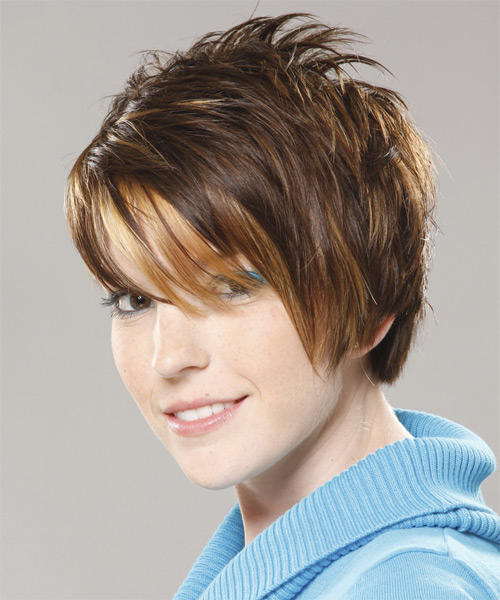 Short Straight Casual Layered Pixie  Hairstyle with Asymmetrical Bangs  - Medium Honey Brunette Hair Color - Side on View