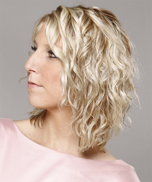 Medium Curly   Light Champagne Blonde   Hairstyle   - Side on View