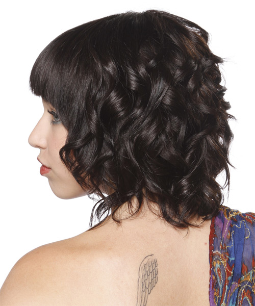 Medium Curly Formal  Bob  Hairstyle with Blunt Cut Bangs  - Dark Brunette Hair Color - Side on View