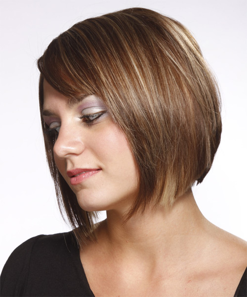 Medium Straight    Ash Brunette Bob  Haircut with Side Swept Bangs  and Light Blonde Highlights - Side on View