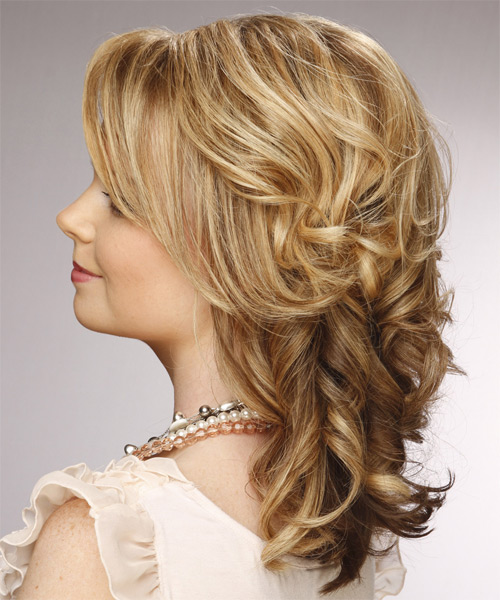 Medium Curly Formal    Hairstyle with Side Swept Bangs  - Medium Golden Blonde Hair Color with Medium Blonde Highlights - Side on View