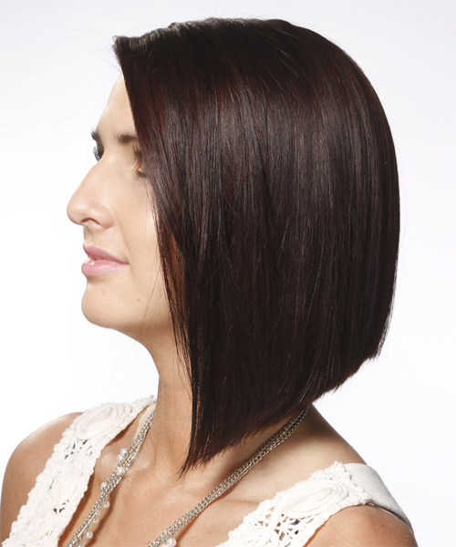 Medium Straight Alternative  Asymmetrical  Hairstyle   - Mocha Hair Color - Side on View