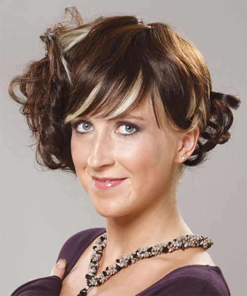 Medium Curly Formal   Updo Hairstyle with Blunt Cut Bangs  -  Brunette Hair Color with Light Blonde Highlights - Side on View