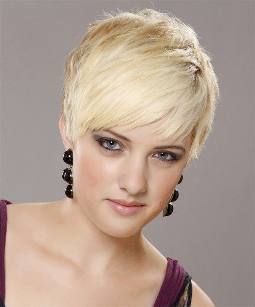 Short Straight Casual  Pixie  Hairstyle   - Light Blonde Hair Color - Side on View