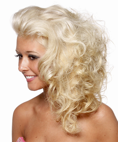 Long Curly Formal   Hairstyle   - Light Blonde (Platinum) - Side on View