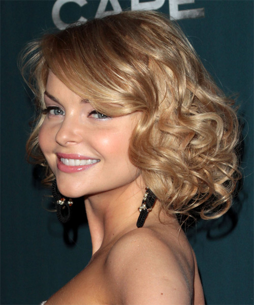 Izabella Miko Medium Curly Formal    Hairstyle with Side Swept Bangs  - Medium Blonde Hair Color - Side on View