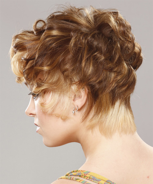 Short Curly   Light Caramel Brunette   Hairstyle   with Light Blonde Highlights - Side on View