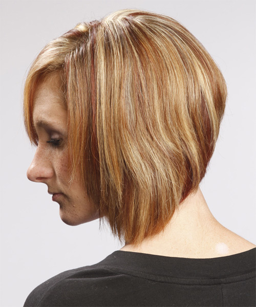 Medium Straight Layered  Light Caramel Brunette Bob  Haircut with Side Swept Bangs  and Light Blonde Highlights - Side on View