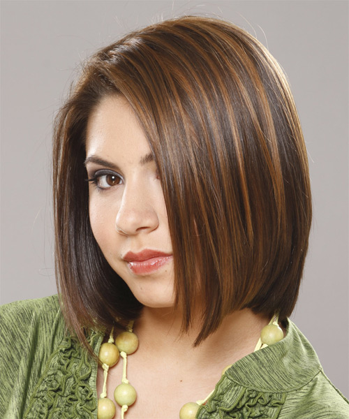 Medium Straight Casual Bob  Hairstyle   (Chocolate) - Side on View