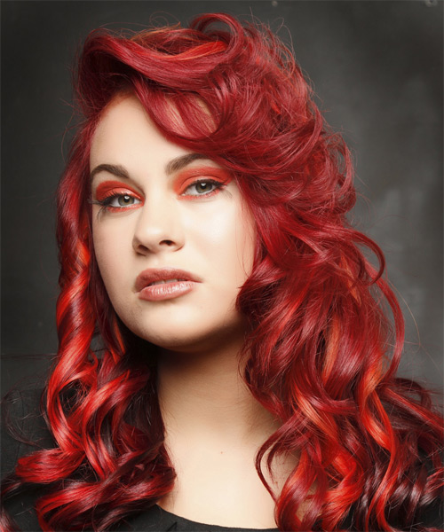 Long Curly Alternative   Hairstyle   - Medium Red (Bright) - Side on View
