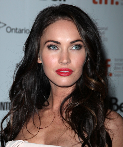 Megan Fox Casual Long Wavy Hairstyle Black Hair Color