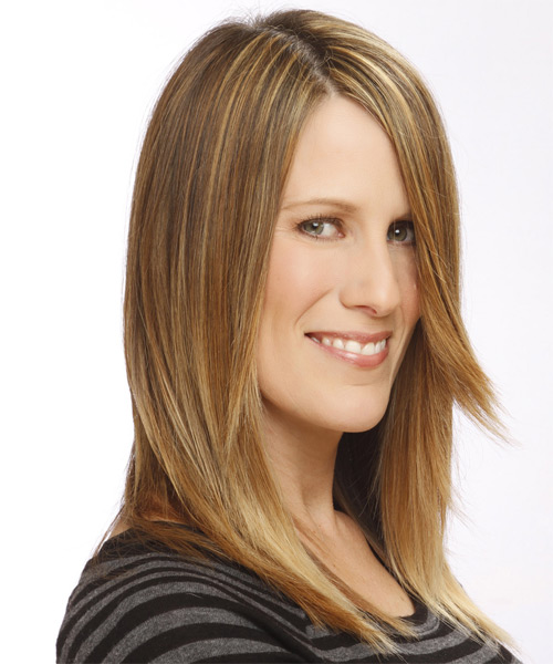 Long Straight Casual    Hairstyle   - Light Caramel Brunette Hair Color with Light Blonde Highlights - Side on View