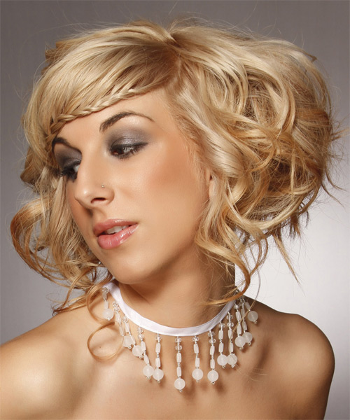 Updo Long Curly Formal Wedding Updo Hairstyle   - Medium Blonde (Honey) - Side on View