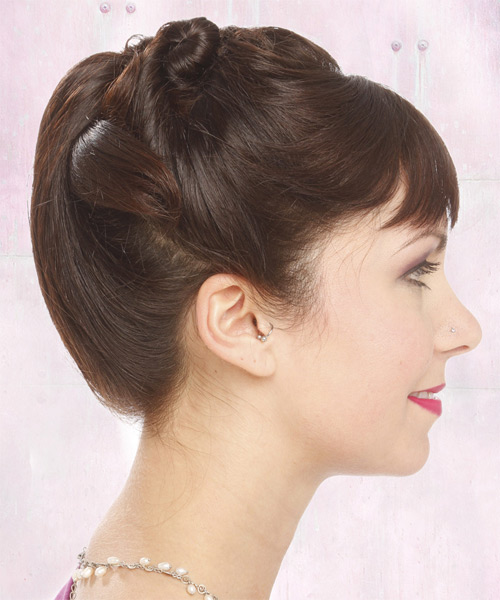 Long Straight Formal   Updo Hairstyle with Blunt Cut Bangs  -  Brunette Hair Color - Side on View