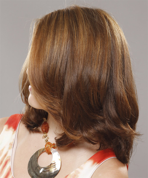 Medium Straight Formal   Hairstyle   - Light Brunette (Chestnut) - Side on View