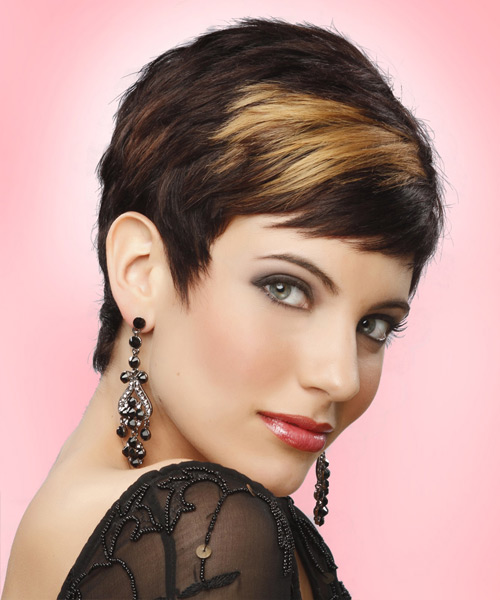 Layered  Dark Mocha Brunette Pixie  Cut with Side Swept Bangs  and Light Blonde Highlights - Side on View