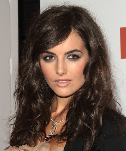 Camilla Belle Long Wavy   Dark Brunette   Hairstyle with Side Swept Bangs  - Side on View