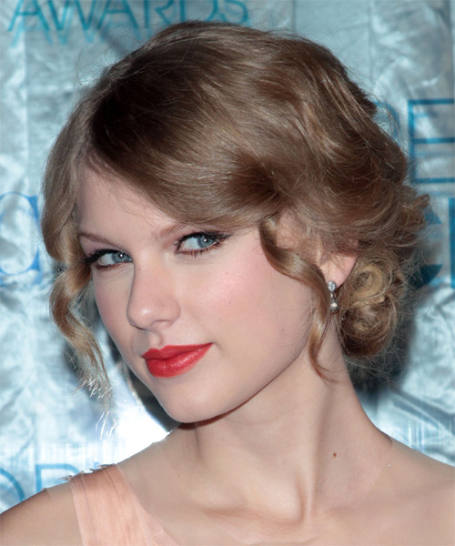Taylor Swift  Long Curly   Dark Strawberry Blonde  Updo    - Side on View