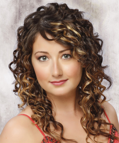 Long Curly Formal   Hairstyle   - Medium Brunette (Mocha) - Side on View