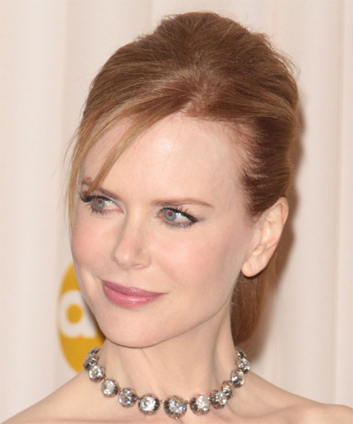 Nicole Kidman Updo Long Straight Formal  Updo Hairstyle   - Light Red - Side on View