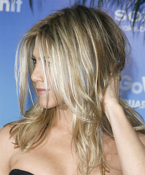 Jennifer Aniston Long Straight Casual    Hairstyle   - Medium Champagne Blonde Hair Color - Side on View