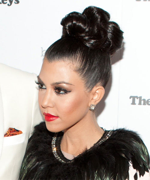 Kourtney Kardashian  Long Curly Formal   Updo Hairstyle   - Black  Hair Color - Side on View