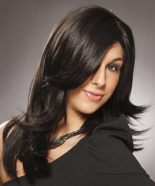 Long Straight Formal   Hairstyle   - Black - Side on View