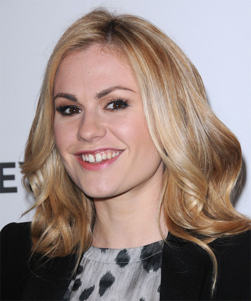 Anna Paquin Long Wavy Casual   Hairstyle   - Medium Blonde - Side on View