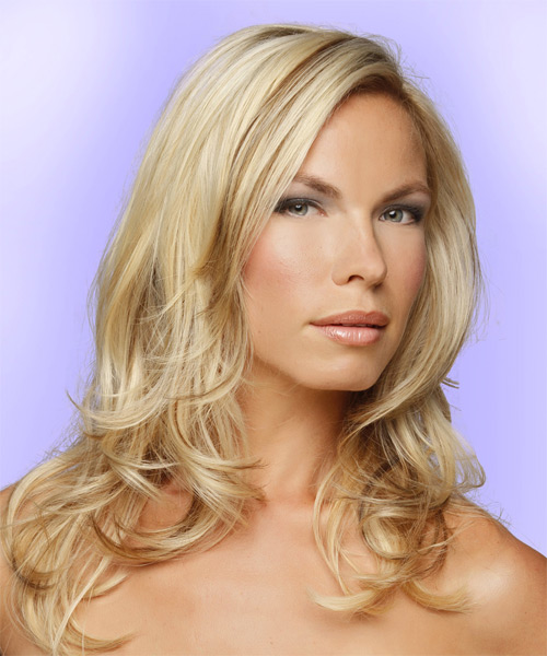 Long Straight Formal    Hairstyle   -  Blonde Hair Color with Light Blonde Highlights - Side on View