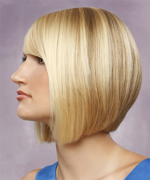 Medium Straight Formal Bob  Hairstyle with Side Swept Bangs  - Light Blonde - Side on View