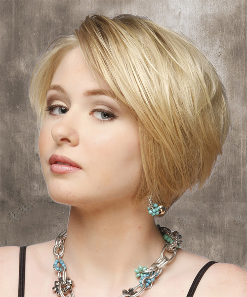 Short Straight Casual    Hairstyle   - Light Blonde Hair Color - Side on View