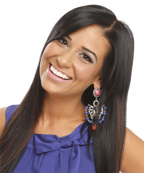 Long Straight Casual    Hairstyle   - Black  Hair Color - Side on View