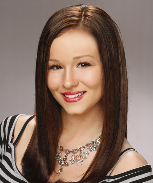 Long Straight Formal   Hairstyle   - Medium Brunette - Side on View