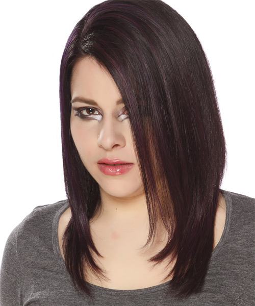 Long Straight Casual   Hairstyle   - Dark Brunette (Plum) - Side on View