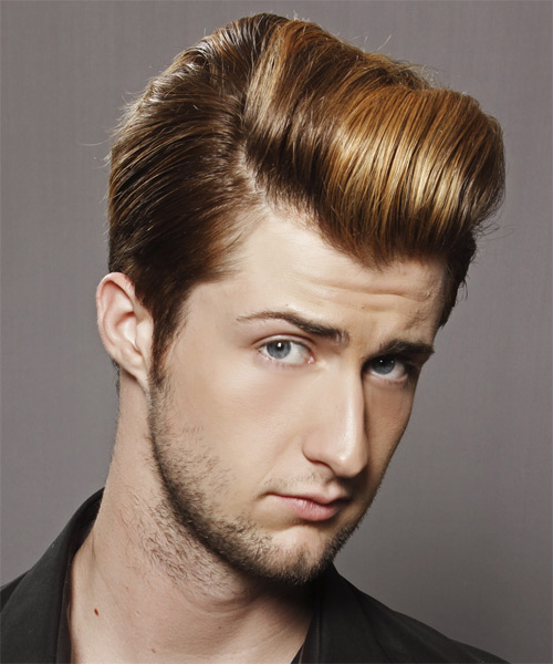 Short Straight Formal    Hairstyle   -  Golden Brunette and Dark Blonde Two-Tone Hair Color - Side on View