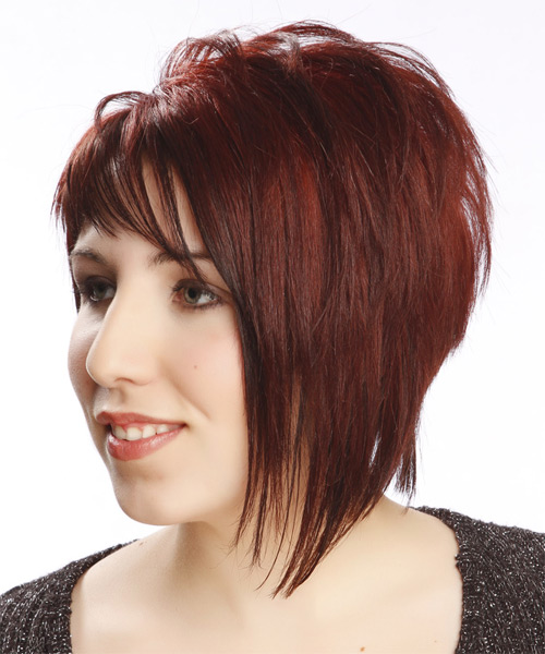 Short Straight Alternative Asymmetrical Hairstyle With Asymmetrical Bangs    Red Hair Color   Side On View