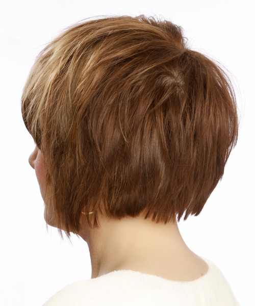 Medium Straight Casual   Hairstyle with Side Swept Bangs  - Light Brunette (Caramel) - Side on View