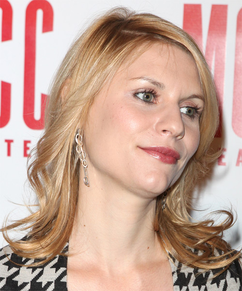 Claire Danes Medium Wavy Casual   Hairstyle   - Light Blonde (Copper) - Side on View