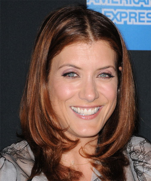 Kate Walsh Medium Straight Formal   Hairstyle   - Dark Red - Side on View