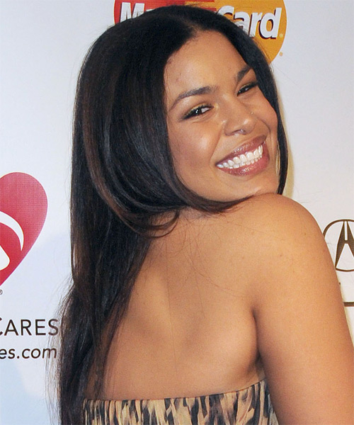 Jordin Sparks Long Straight Casual   Hairstyle   - Black - Side on View