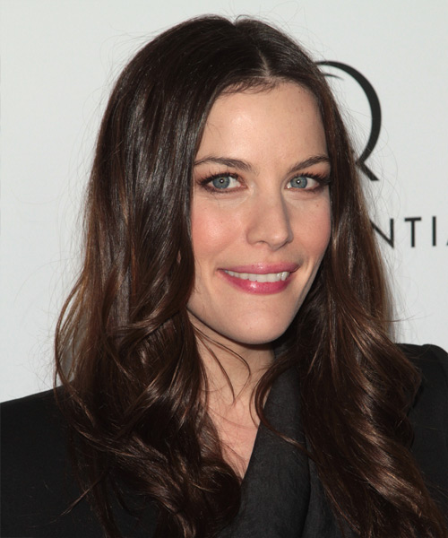 Liv Tyler Long Wavy Formal   Hairstyle   - Dark Brunette (Mocha) - Side on View