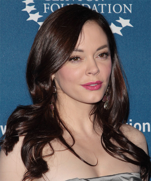 Rose McGowan Long Straight Formal   Hairstyle   - Medium Brunette (Chocolate) - Side on View