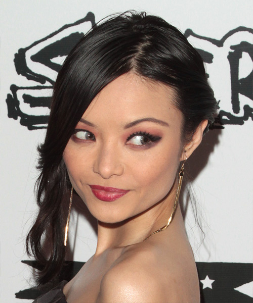 Tila Tequila  Long Straight Formal   Updo Hairstyle   - Black  Hair Color - Side on View