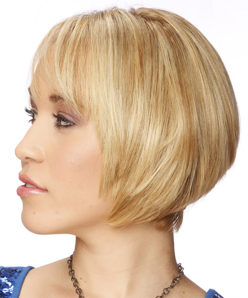 Short Straight Formal Bob  Hairstyle with Side Swept Bangs  - Light Blonde (Honey) - Side on View