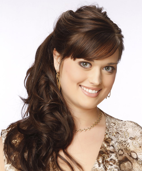 Long Curly Formal   Updo Hairstyle with Side Swept Bangs  -  Chocolate Brunette Hair Color - Side on View