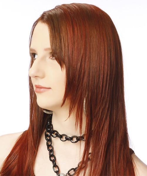 Long Straight Casual    Hairstyle   -  Auburn Red Hair Color - Side on View